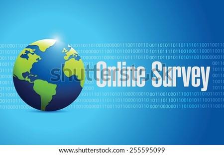 online survey international sign illustration design over a binary background - stock vector