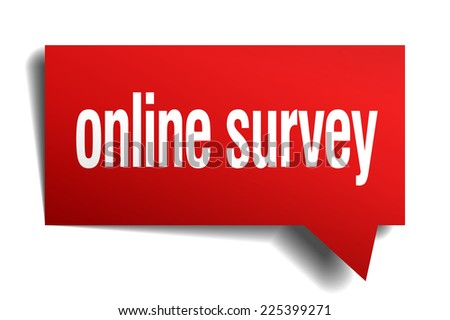 online survey red 3d realistic paper speech bubble - stock vector