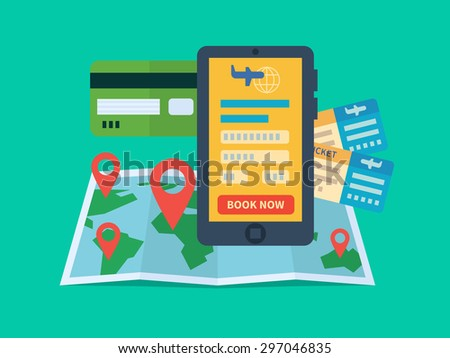 Online ticket booking. Internet e-commerce, travel and technology. Flat vector illustration - stock vector