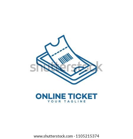 online ticket logo design template linear stock vector 1105215374