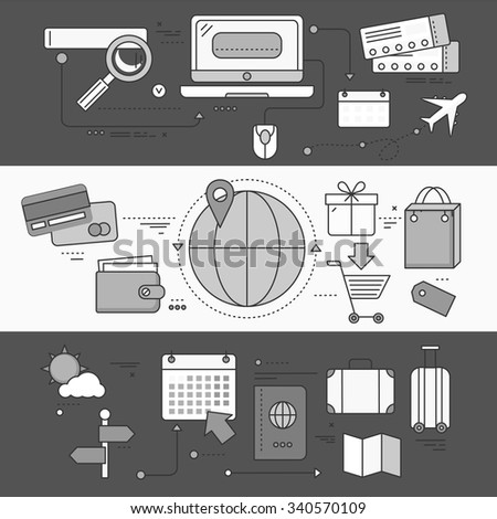 Online ticket reservation and booking accommodation. Transportation pay, search journey, offer voyage, reserve order travel, internet and flight illustration. Set of thin, lines flat icon. White black - stock vector