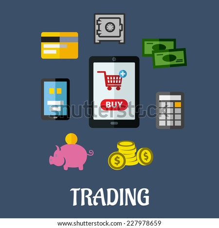 Online trading flat concept with a shopping cart on a tablet screen surrounded by various payment options including various forms of cash, a safe and a bank card, vector illustration - stock vector