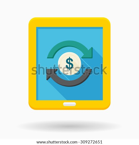 Online Trading icon, vector illustration. Flat design style with long shadow,eps10 - stock vector