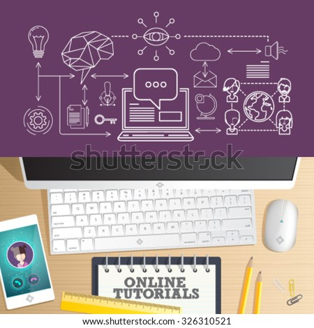 Online training courses, online universities, online education. Top view vector of Office desk table. Concept for website banner, background and marketing material. - stock vector