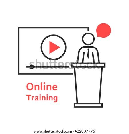 online training with linear spokesman. concept of class, tablet, leader, personal tutor, teamwork, university, presentation. flat style trend modern logo design vector illustration on white background - stock vector