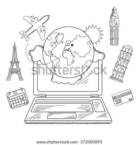 Online travel and sightseeing booking service sketched icons with a laptop surrounded by a globe, calendar, credit card, airplane and international landmarks - stock vector