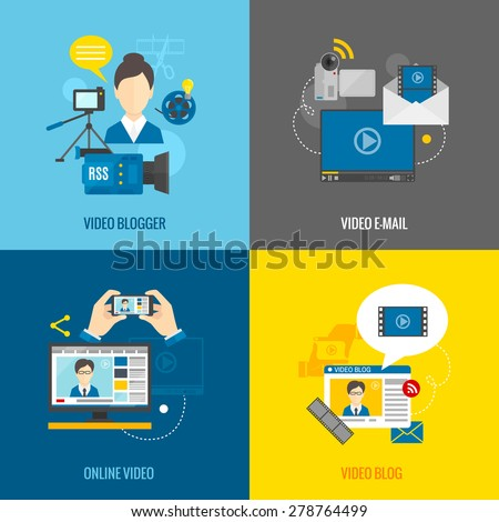Online video blog design concept set with blogger media flat icons isolated isolated vector illustration - stock vector