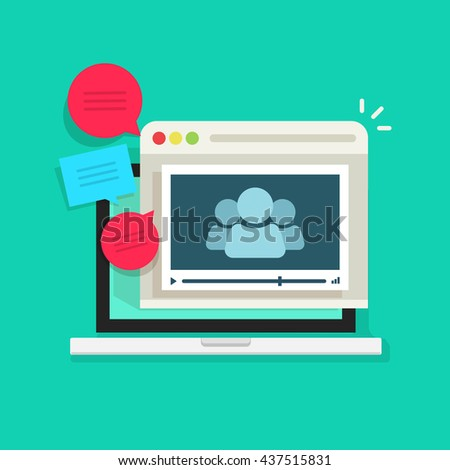 Online video conference vector icon isolated, abstract group of people in laptop video player speaking, talking, video call technology, online meeting communication concept, webinar icon - stock vector