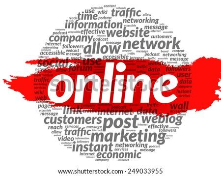 ONLINE word cloud, business concept - stock vector