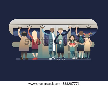 Onlookers passengers in trasport - stock vector