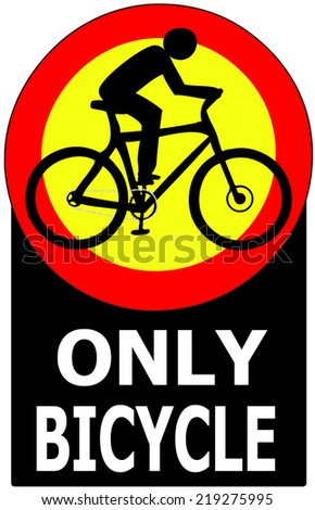 Only Bicycle Passing Allowed Sign Label - stock vector