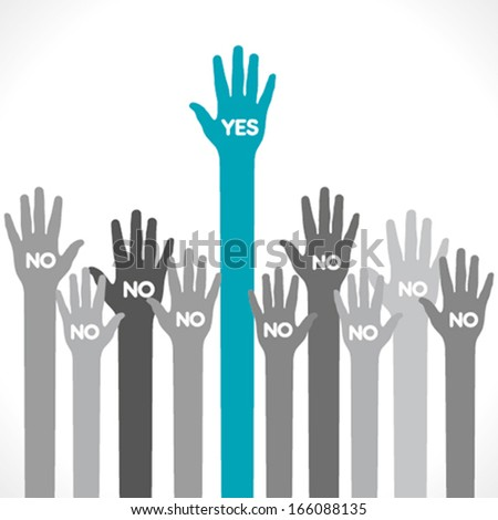 only one hand say yes background vector - stock vector