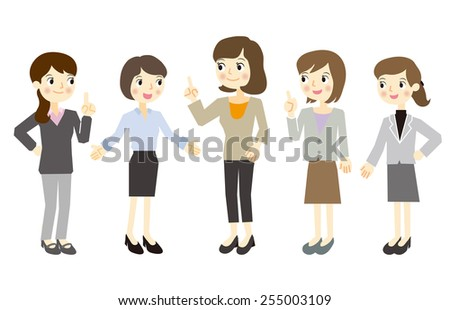 Only women business team - stock vector