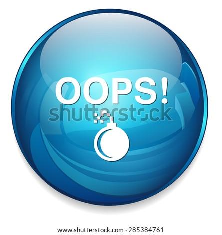 Oops button - stock vector