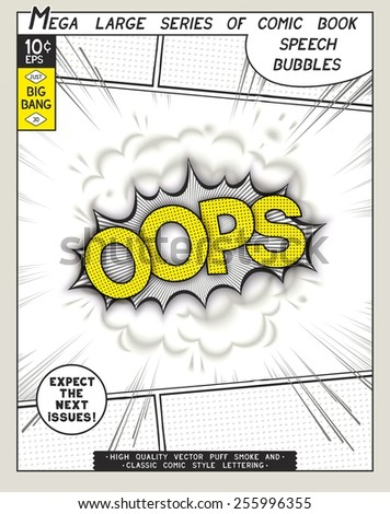 Oops. Explosion in comic style with lettering and realistic puffs smoke. 3D vector pop art speech bubble - stock vector