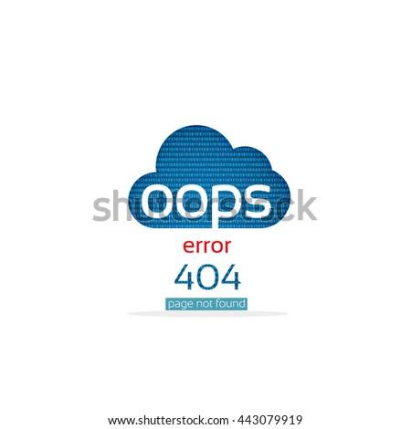 Oops, Page not found, Error 404, design vector, icon - stock vector