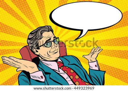 oops sorry business man. Pop art retro vector, realistic hand drawn illustration. businessman throws up his hands - stock vector