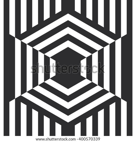 Op art effect background. Striped abstract illustration. Optical illusion backdrop.