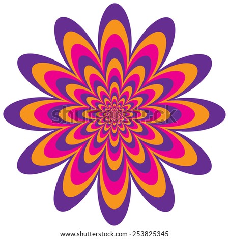 Op Art Flower optical illusion design in purple, pink and orange. - stock vector