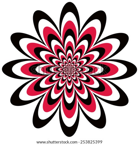 Op Art Flower optical illusion design in red, black and white.  - stock vector
