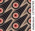 Op Art vector seamless pattern. Circles - stock photo