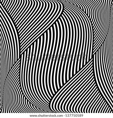 Op art wavy lines pattern. Abstract background. Vector illustration.