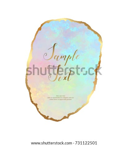 Opal gemstone background with golden border. Gold leaf Opal slice coaster. Natural stone texture. Crystal quartz. Vector template for holiday designs, invitation, card, wedding, save the date.