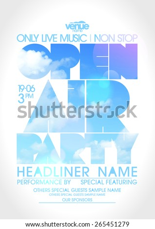 Open air party poster with text silhouette against sky.  - stock vector