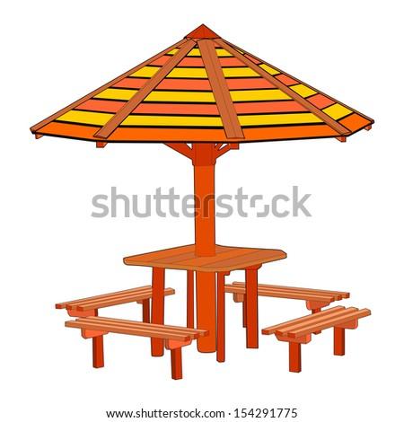 Open air wooden gazebo vector ideal place for picnic. - stock vector