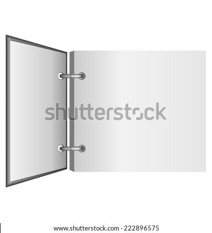 Open album in grayscale colors isolated on white background - stock vector