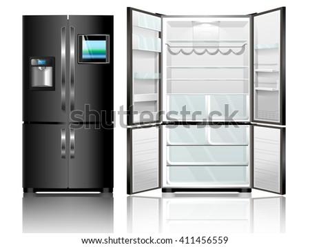 Open and closed black fridge. Vector illustration modern fridge on a white background.  - stock vector