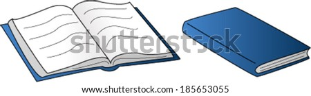 Open and Closed Book - stock vector