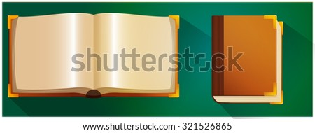 Open and closed book set with blank pages - stock vector