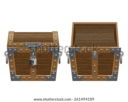 open and closed chest - stock vector