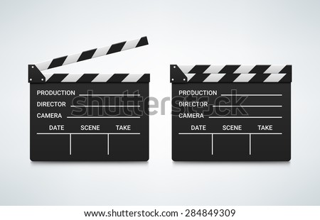 Open and closed clapper board. Vector illustration. Realistic vector. Movie clapper board. Movie logo. Clapper icon. Movie best icon. Movie best logo. Movie vector icon. Video logo. Clapper best logo
