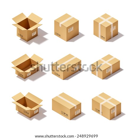 Open and closed delivery cardboard 3d realistic decorative icons set isolated vector illustration - stock vector