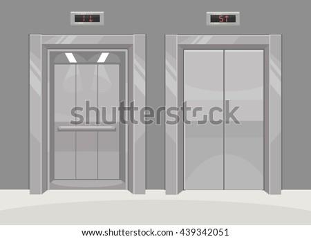 Open and closed metal office building elevator. Vector flat cartoon illustration - stock vector