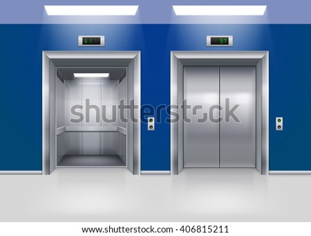 Open and Closed Modern Metal Elevator Doors. Hall Interior in Blue Colors - stock vector