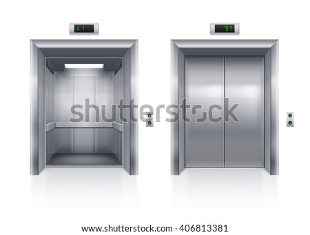 Open and Closed Modern Metal Elevator Doors on White Background - stock vector