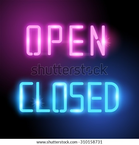 Open and Closed Neon Vector Signs. Bright neon shop signs in neon pink and blue. Vector illustration. - stock vector