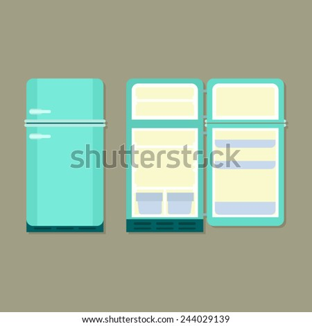 open and closed vintage refrigerator - stock vector