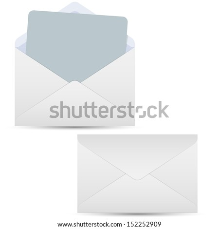 Open and closed white envelopes - stock vector