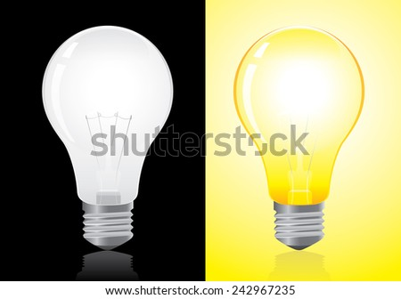 Open and turned off light bulb vector on black and yellow background - stock vector
