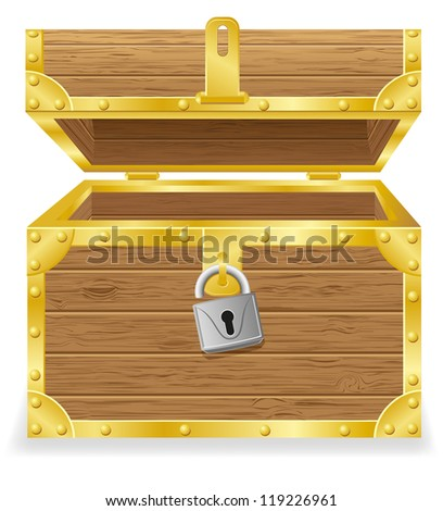 open antique chest vector illustration isolated on white background - stock vector