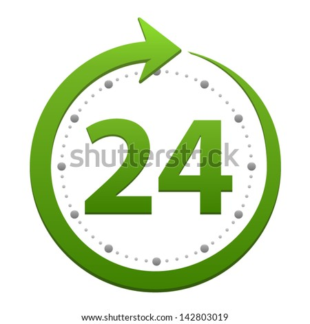Open around the clock, 24 hours a day icon isolated on white background. Stylized green vector icon - stock vector