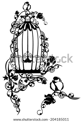 open bird cage twined with rose flowers with a little bird sitting free - black and white vector design - stock vector