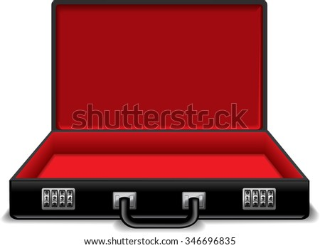 Open black and red suitcase with code. Vector illustration. - stock vector