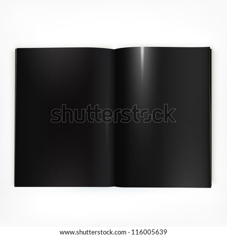 Open black glossy catalog double-page spread with blank pages. - stock vector