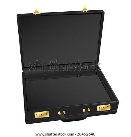 Open Briefcase Vector Open Black Leather Briefcase