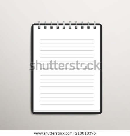open blank lined notebook over white background - stock vector